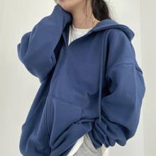 Camisola feminina harajuku versão coreana solta fina manga comprida com capuz casaco de proteção solar cor sólida retro camisa estudante menina topo