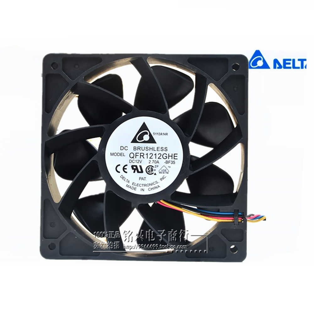 Cooling Fan for Delta QFR1212GHE QFR1212GHE-PWM 4P 12V 2.7A 12038 Server Cooling Fan 74Y5220 for Bitcoin Miner 12012038mm