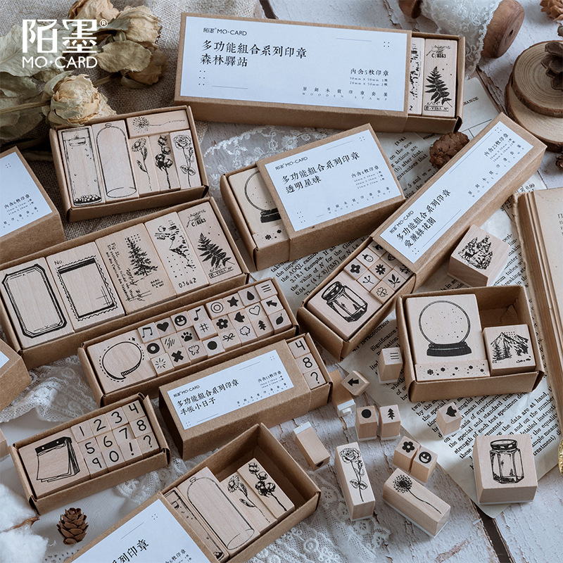 Vintage Floriography Plants Flowers Bottle Xmas Decoration Stamp Set DIY Wooden Rubber Stamps For Scrapbooking Standard Stamp