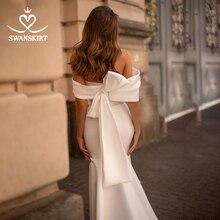 Robes de mariée mode Satin sirène Train élégant hors épaule princesse robe de mariée swanjupes I320 personnalisé Vestido de novia