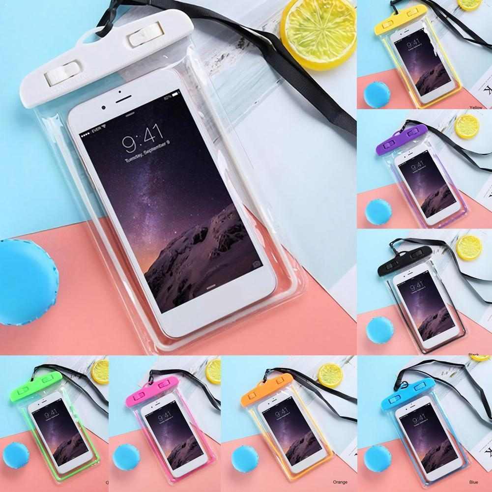 PVC Transparent Waterproof Pouch Noctilucent Swimming Case For Phone Bag Water Cover Bag Dry Underwater Beach Pool Sports J6Z6