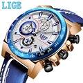 LIGE новые мужские s часы лучший бренд класса люкс кварцевые часы мужские деловые кожаные спортивные хронограф водонепроницаемые часы Relogio ...