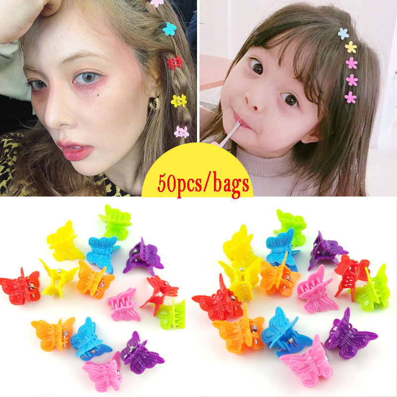 Butterfly Hair Clips 20pcs/50pcs/100pcs Assorted Color Beautiful Hair Clips Mini Hair Clamps Headwear Hair Styling Tools