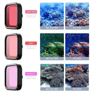 Image 3 - Para Gopro accesorios Set go pro hero 8 kit EVA carcasa película templada impermeable funda carcasa filtro rojo marco silicona Protector