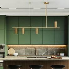 Modern Led Pendant Light Golden Copper For Dining Living Room Kitchen Island Long Pole Hanging Lamp Acrylic Changeable Lustre