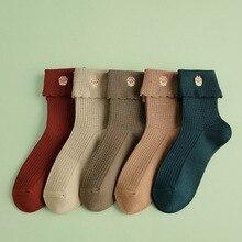 20 Pairs Per Set 2019 New Cotton Embroidery Medium Tube Female Socks Japanese Cartoon Cat Claw Embroidery Female Socks Wholesale