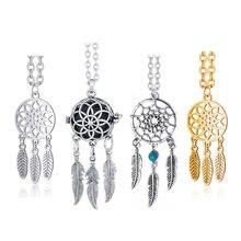 Bohemian Ethnischen Feder Yoga Legierung oder Edelstahl Dreamcatcher Halskette Frauen Indischen Mandala Lotus Dream Catcher Halskette