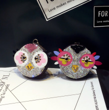 Cute Owl Chicken Crystal Cartoon Anime Coin Purse Keychain Pendant PU Leather Wallet Key Chain For Women Bag Charm цена 2017