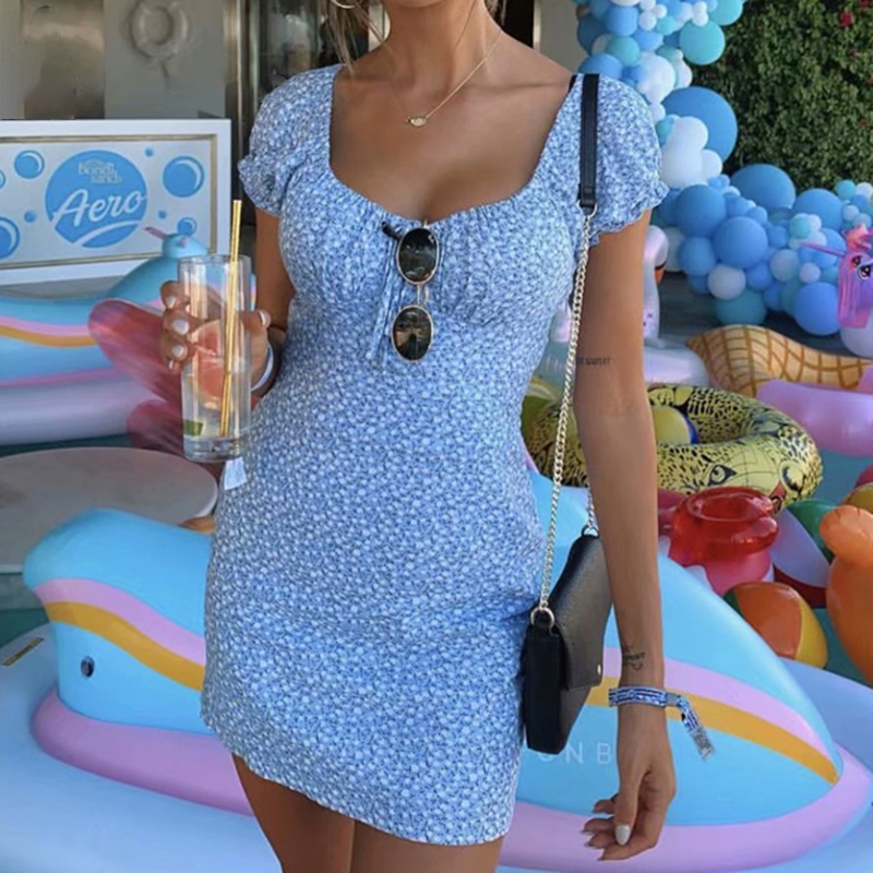 2020 Holiday Center Bow Summer Dress Vintage Blue Floral Print Ruffle  Beach Dress Slim Women Mini Dress Vestidos Dropshipping