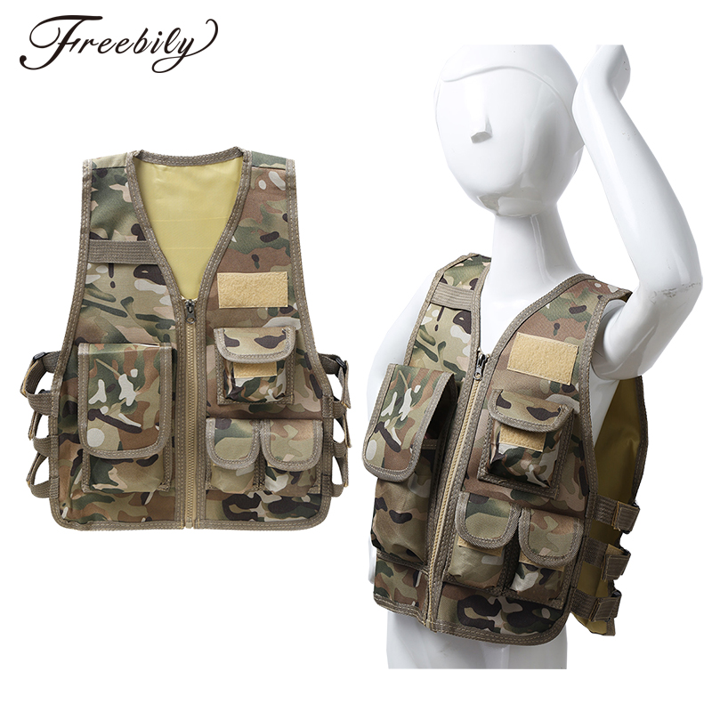 Military Kids Camouflage Hunting Clothes Men Combat Equipment Tactical Army Vest Children Cosplay Costume Airsoft Sniper Uniform