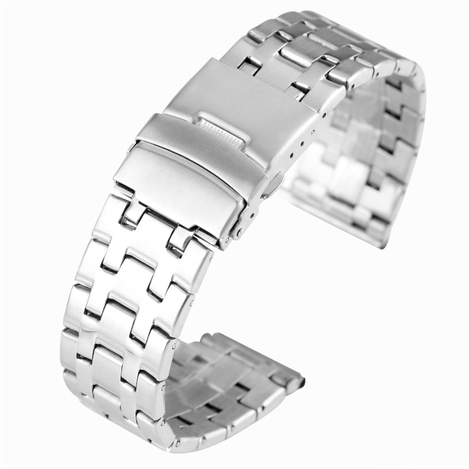 Silver/Black Folding Clasp Stainless Steel Watchbands 20/22 mm Width Watch Straps Replacements Metal Watch bands image
