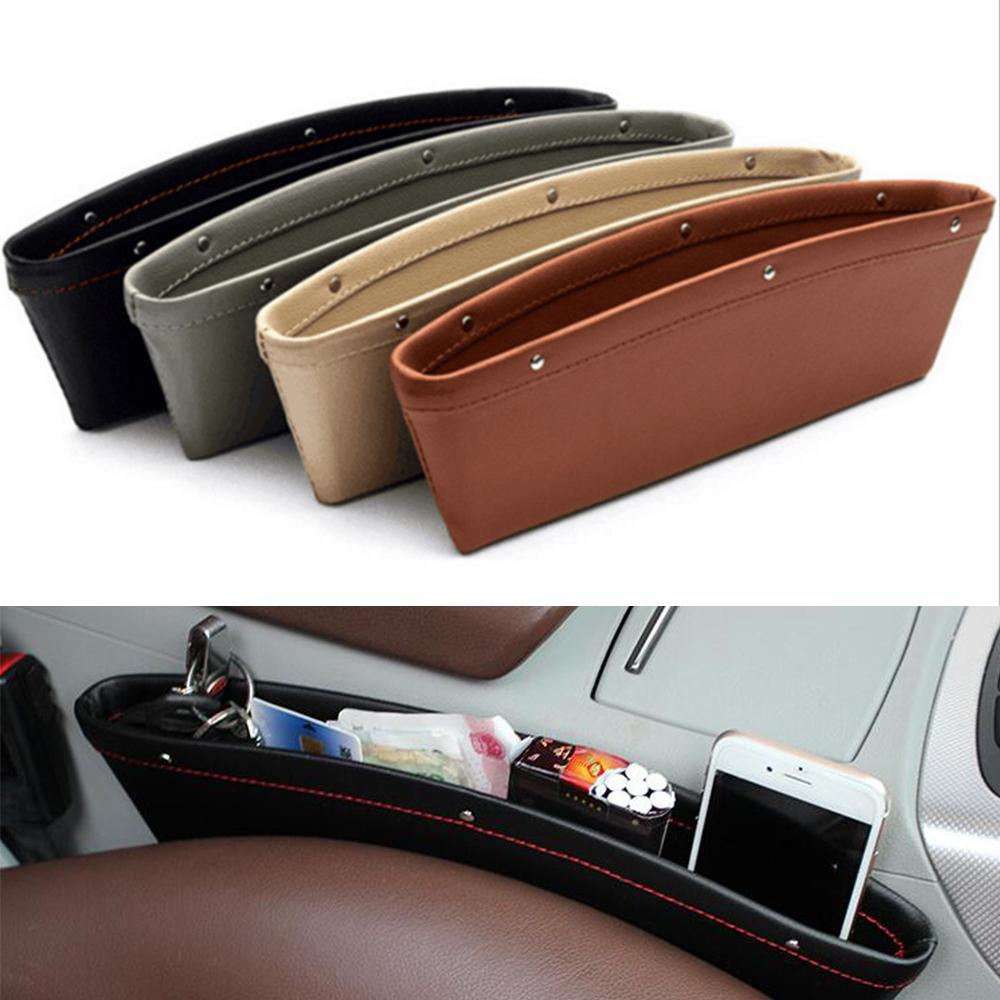 1PC Car Organizer PU Leather Storage Car Seat Slit Gap Pocket Storage Glove Slot Box 350*105*4 Mm