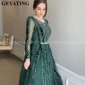 Image 1 - Emerald Green Velvet Long Sleeves Dubai Evening Dress 2020 Luxury Crystal A Line Arabic Formal Dresses Muslim Prom Party Gowns
