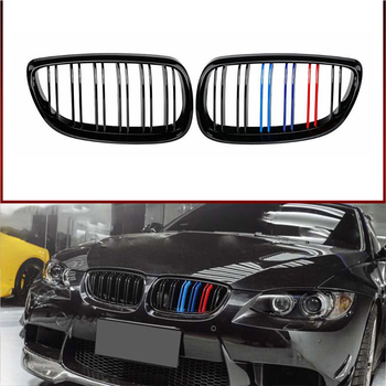 цена на New A Pair Gloss Black Car Dual Line Front Bumper Kidney Grille Grills For BMW E92 E93 3-Series M3 Coupe Convertible 2006-2009