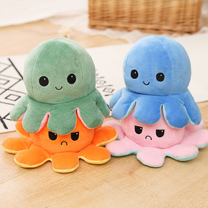 Плюшевая игрушка-осьминог, реверсии с двумя лицами, Флип из ПП хлопка, мягкий смешной осьминог, рождественские подарки для детей и собак, домашних животных