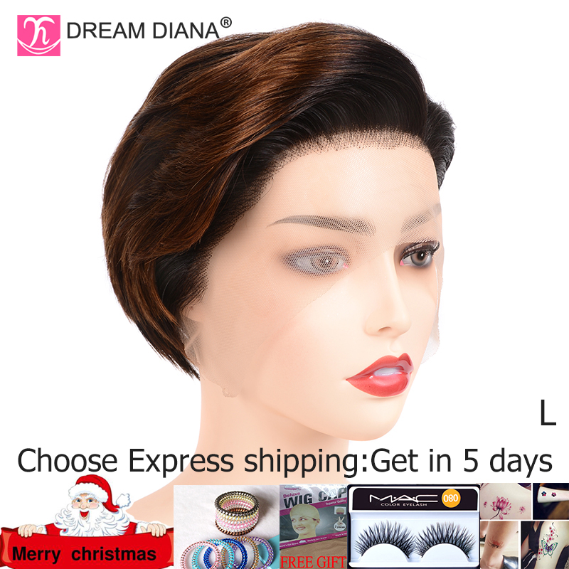 DreamDiana Ombre 13x4 Lace Front Wig Ombre Straight Bob Lace Front Wig Remy Brazilian Lace Wig 8