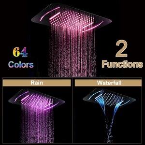 Image 3 - Роскошная светодиодсветильник насадка для душа, массажные насадки для душа из нержавеющей стали для ванной и спа, 580*380 мм, встраиваемая потолочная дождевая душевая панель