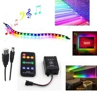 USB 5V musik steuerung WS 2812B 5050 RGB Einzeln Adressierbaren LED-streifen TV hintergrund licht schrank schlafzimmer nacht atmosphäre