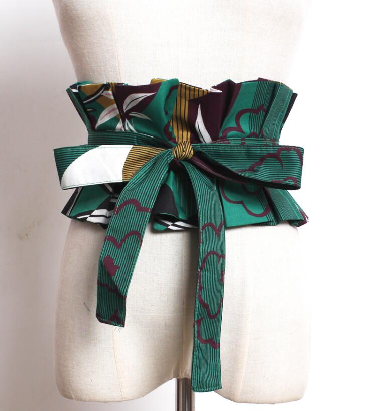 Women's Runway Fashion Print Fabric Bow Cummerbunds Female Dress Coat Corsets Waistband Belts Decoration Wide Belt R1786