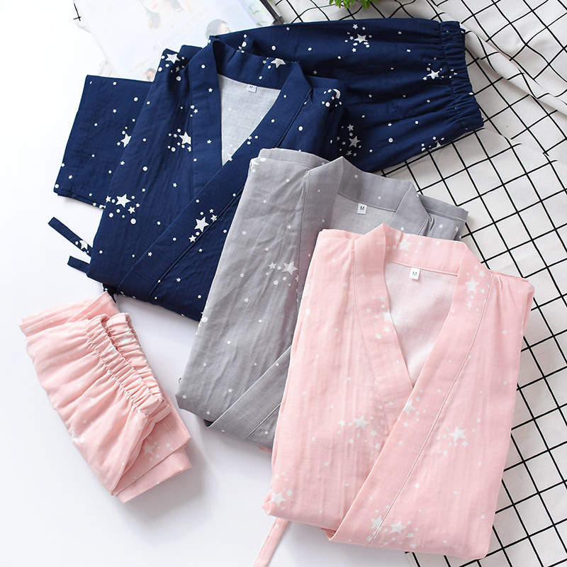 Japanese Kimono Traditional Women Thin Section Pajamas Cotton Kimono Suit Yukata Causal Sleepwear Leisure Wear Lover Homewear