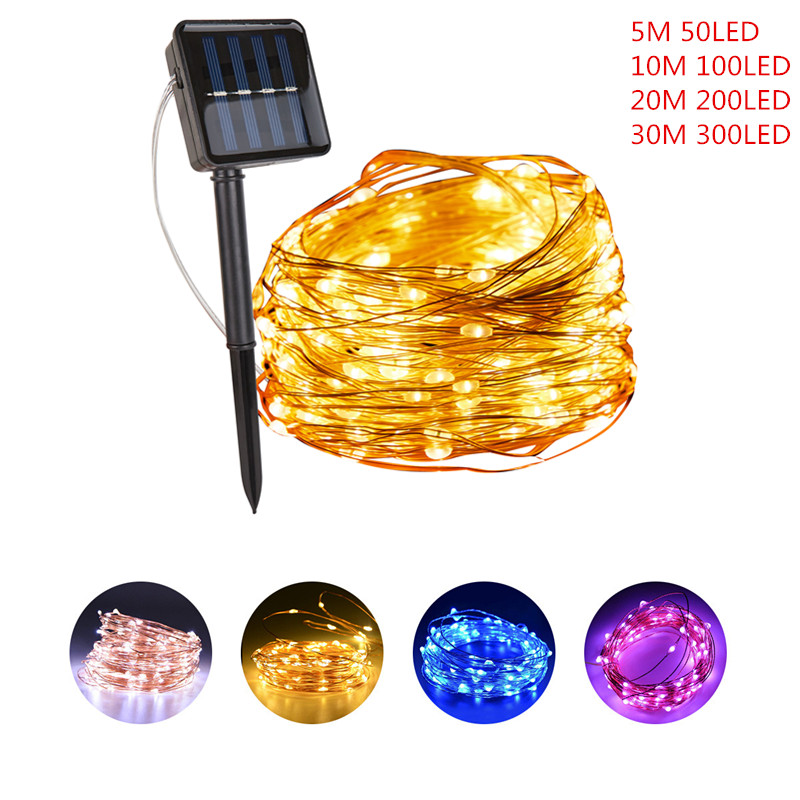 Christmas Lights Outdoor Garland 8 Modes Outdoor Solar String Fairy Lights 20M 30M LED Christmas Decorations for Home Outdoor