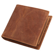 Western Genuine Leather Three Folded Men Short Wallet Vintage Cow Coin Purse