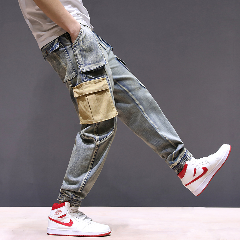 KSTUN Mens Jeans with Side Pockets Cargo Jeans Stretch Denim Pants Multi-pocket Jeans Male Relaxed Joggers Oversize Size 40 42 14
