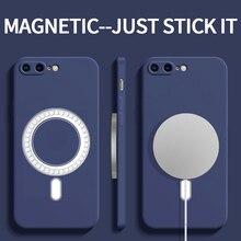 Magsafe אלחוטי טעינת עמיד הלם רך נוזל סיליקון טלפון מקרה עבור iPhone 8 בתוספת 11 12 פרו מקס מיני כיסוי Fundas coque