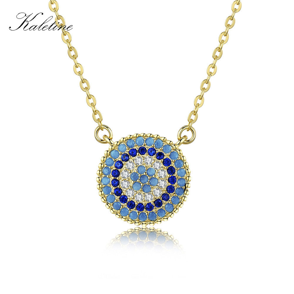 KALETINE 925 Sterling Silver Necklace Charm Round Pendant Evil Eye Necklace Women Paved Blue Zinconia Luck Turkey Jewelry 2019
