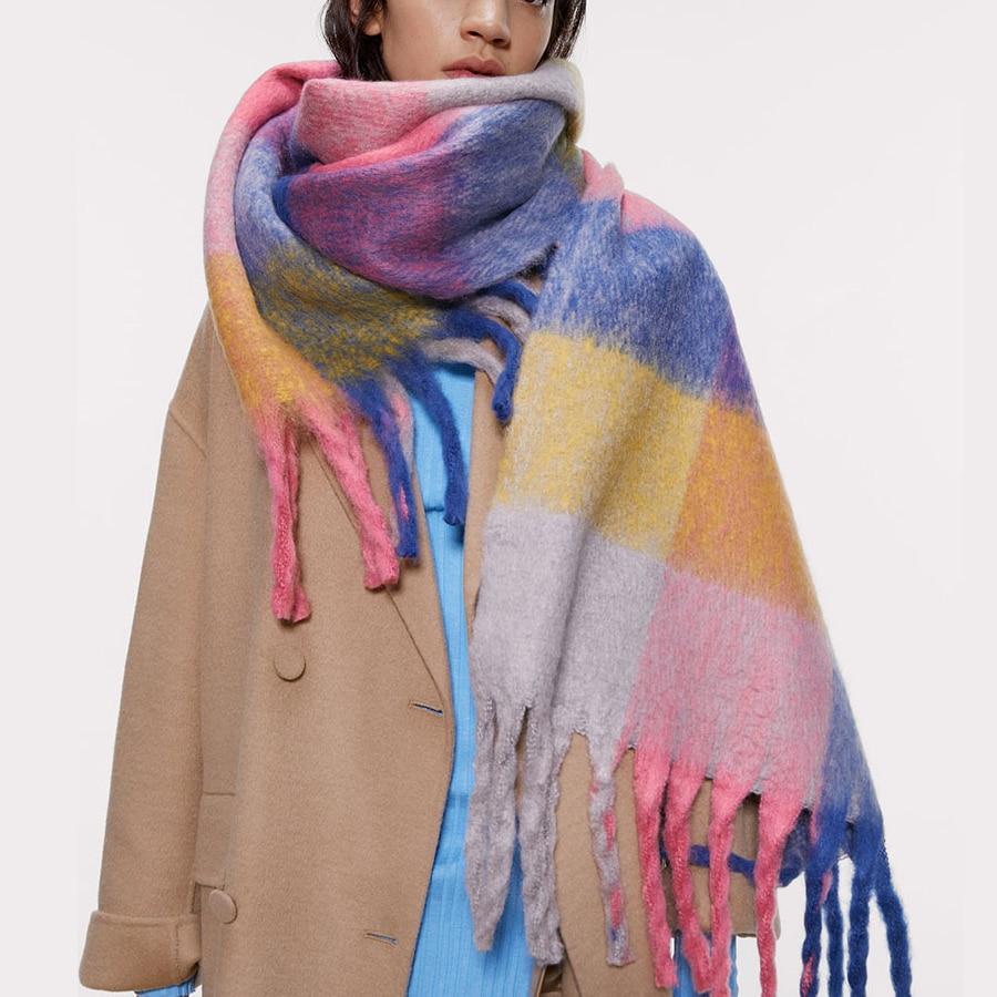 High Quality Cashmere Women Scarfs Plaid Thick Warm Soft Winter Pashmina Shawls Female Za Brand Colorful Ladies Girls Snood
