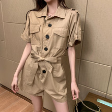 2020 Fashion Summer jumpsuit women short sleeve Button pocket Cargo playsuits with belt Rom