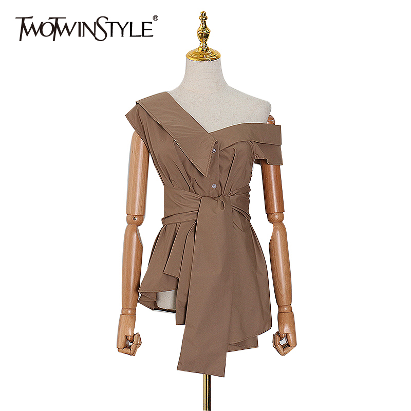 TWOTWINSTYLE Irregular One Shoulder Women Shirt Sleeveless High Waist Slim Casual Blouse Female Spring 2020 Fashion Clothes New