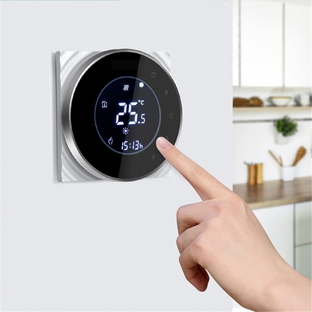 THP6000WH Water/Gas Boiler Thermostat Backlight WIFI 3A Weekly Programmable LCD Touch Screen Works With Alexa Google