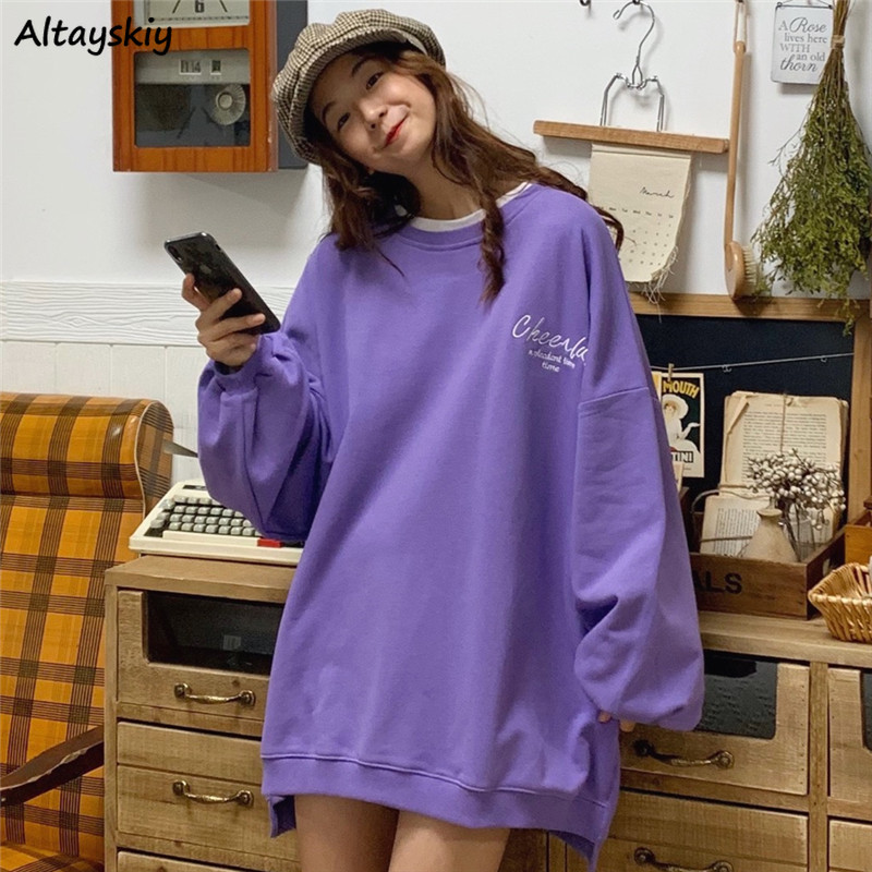 Hoodies Women Candy Color Sweet O-Neck Harajuku Oversize All-match Loose Simple Womens Sweatshirt Chic Ulzzang Daily Printed New