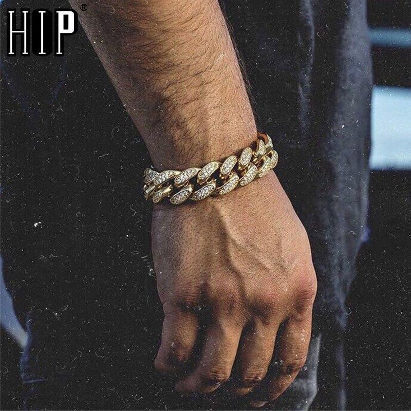 Хип-хоп Bling Iced Out мужской Рэппер браслет полностью Стразы проложить золотой цвет Майами кубинская звеньевая цепочка браслеты для мужчин ювелирные изделия