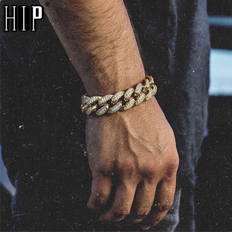 Hip Hop Bling Iced Out Men's Rapper Bracelet Full Rhinestone Pave Gold Color Miami Cuban Link Chain Bracelets for Men Jewelry
