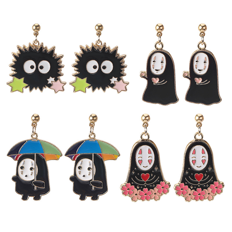 Hello Miss Cartoon Anime Spirited Away Ghost Earrings Fashion Creative Personality Alloy Stud Earrings Earrings Jewelry Gifts