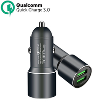 Car Charger, Qualcomm Quick Charge 3.0 Dual USB Ports 36W Fast Charger Aluminum Metal Compatible with Mobile phones ,Tablets