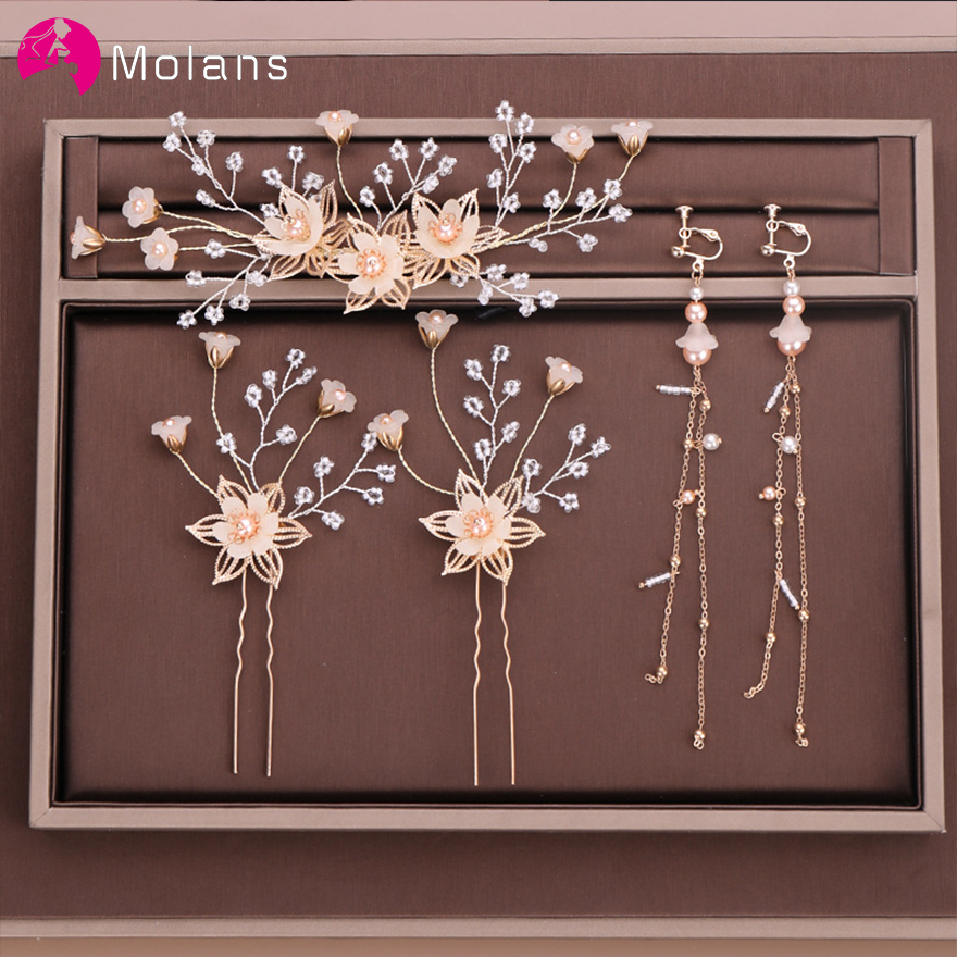 MOLANS European Popular Flower Hairpins For Bride Wedding Accessories Different Size Handmade Alloy Hair Clips Earrings For Lady