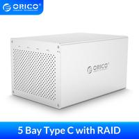 ORICO 3.5'' 5 Bay Type C Hard Drive Enclosure with Raid SATA3.0 HDD Case Aluminum 5Gbps HDD Docking Station For Mac/Win/Linux