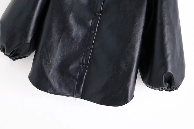 New design za PU faux leather Womens Blouses Shirts puff sleeve autumn Womens tops and blouses streetwear korean Camisa Blusas 25