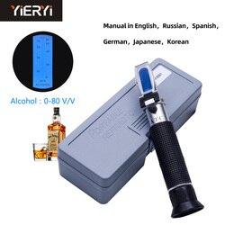 Yieryi детектор концентрации алкоголя для спиртного спирта рефрактометр 0-80% в/в спиртометр энометр