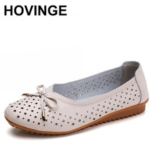 HOVINGE women genuine leather ballet flats shoes woman without lace moccasins woman shallow casual butterfly-knot shoes ladies