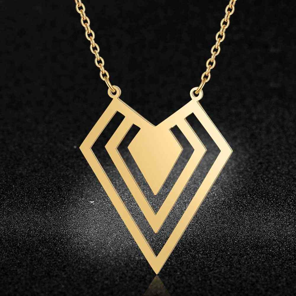 100% Real Stainless Steel Hollow Dia-Mon Shaped Necklace Amazing Design Special Gift Italy Design Personality Jewelry