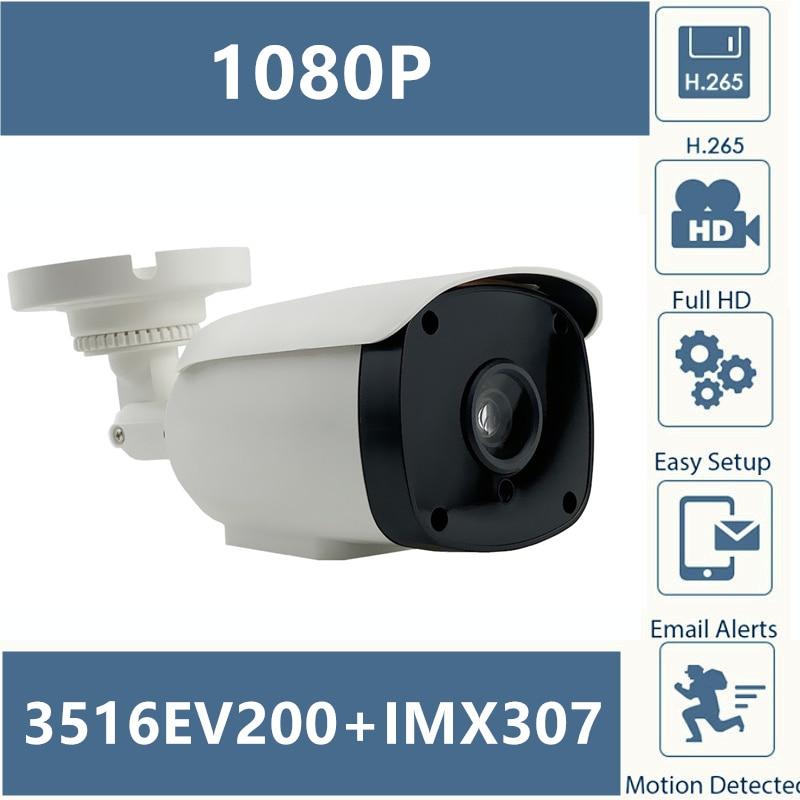 Sony IMX307+3516EV200 IP Bullet Camera Outdoor 1920*1080 25FPS H.265 Low illumination Infrared CMS XMEYE ONVIF P2P RTSPSurveillance Cameras   -