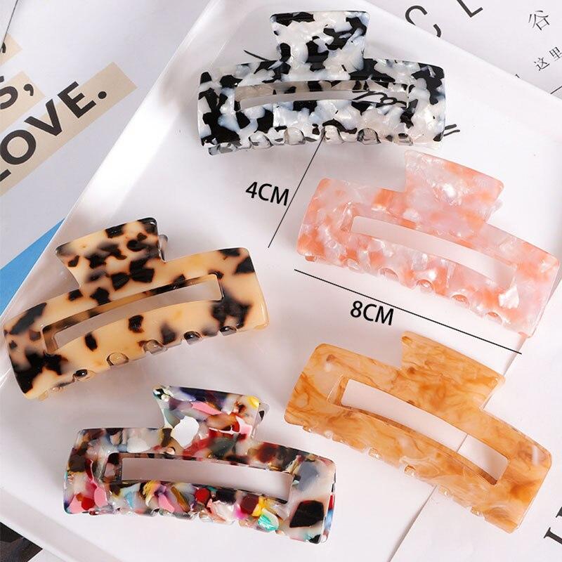 Fashion Leopard Print Hair Claws Geometric Hair Clamp Grab Hair Styling Hair Clips for Women Girls Hairpin Hair Accessories