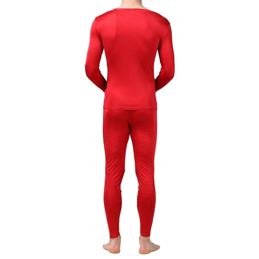 Uomini Calzamaglia invernale, intimo termico 100% Pura Seta Jersey Knit Uomo Con Scollo A V Biancheria Intima Termica Per Gli Uomini Autunno Inverno Superiore e Inferiore Set taglia L XL XXL - 5