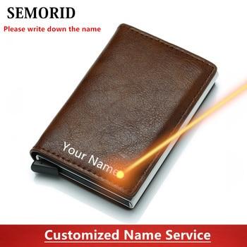 SEMORID  Rfid Card Holder Men Wallets Money Bag Male Vintage Black Short Purse 2020 Small Leather Slim Wallets Mini Wallets Thin short men wallets 100