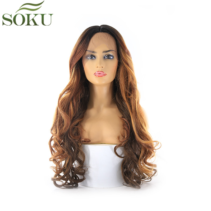 SOKU Wigs Curl Brown Lace Dark-Roots Lace-Front Synthetic Black-Women Ombre Middle-Part
