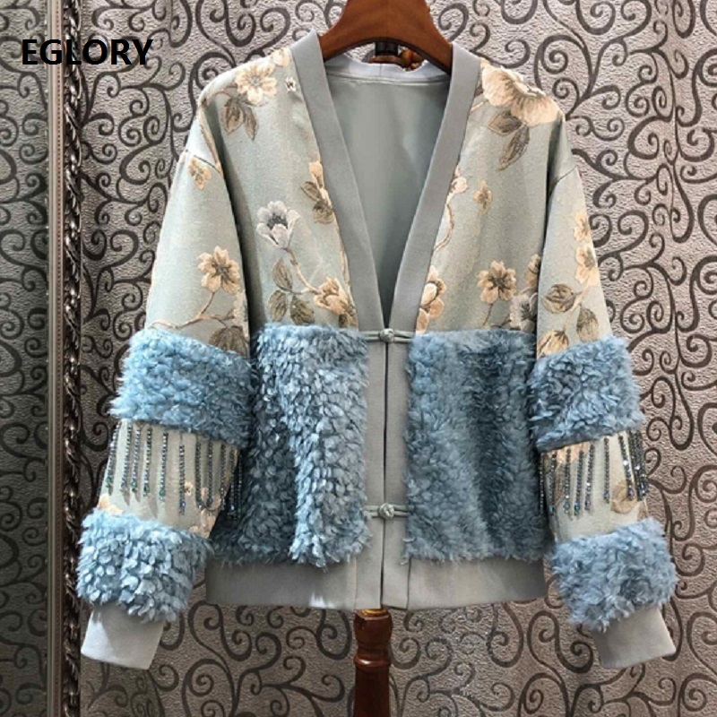 High Quality Jacket 2020 Autumn Winter Casual Outerwear Coats Women Vintage Flower Print Beading Deco Long Sleeve Coats Female
